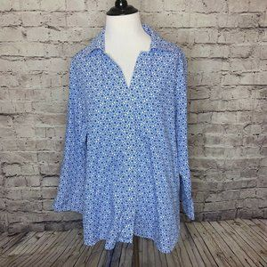 Foxcroft Wrinkle Free Shaped Fit 3/4 Sleeve Button